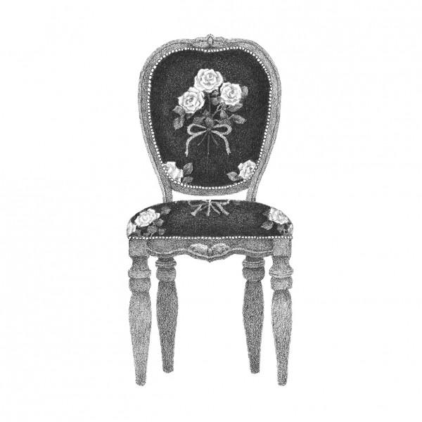 バラ模様の椅子