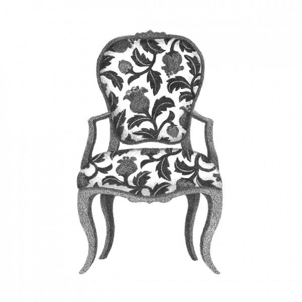 蔦植物模様の椅子