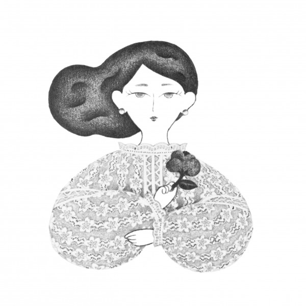 花を持つ女性のポートレート