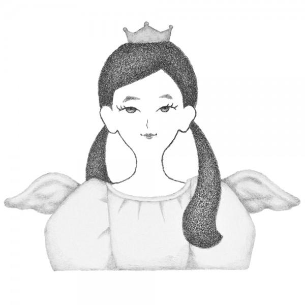 天使の羽をつけた女性のポートレート