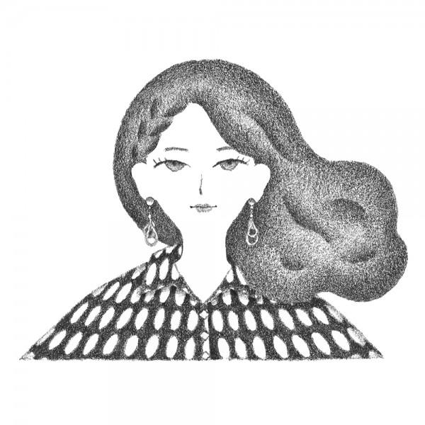 幾何学模様のシャツを着た女性のポートレート